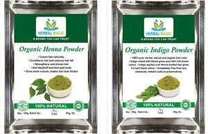 100g Organic Henna Powder + 100g Indigo Powder Pure, Natural Henna Hair Dye