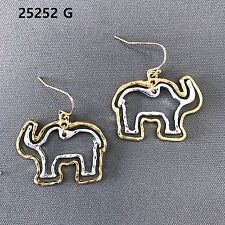 Gold & Silver Finished Double Animal Elephant Shape Drop Dangle Hook Earrings