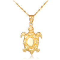Solid Gold Or 925 Silver Sea Turtle Longevity and Stability Pendant Necklace