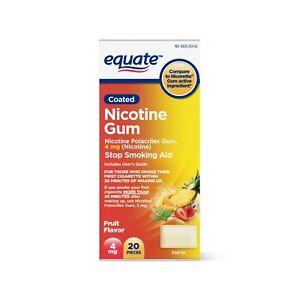 Equate Coated Nicotine Polacrilex Gum, 4 mg, Fruit Flavor, 20 Pieces..+