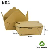 No 4 Kraft Food Box Deli Takeaway Noodles Rice Pasta Folding Lids Biodegradable