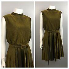 New listing 1960s Sleeveless Mini Dress / Party Dress Full Pleated Skirt Belted / Medium