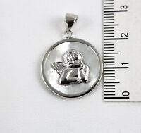 Anhänger Medaille Perlmutt Mit Engel aus Silber 925