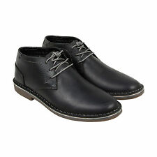 Kenneth Cole Desert Wind Mens Black Leather Casual Dress Lace Up Chukkas Shoes 9
