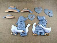 Vintage Burwood Amish Boy & Girl Ducks Hearts & Hats Wall Hangings Nursery Decor