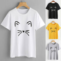 Women Ladies Cat Print Summer Loose Tops Cotton Short Sleeve Blouse T-Shirts NEW