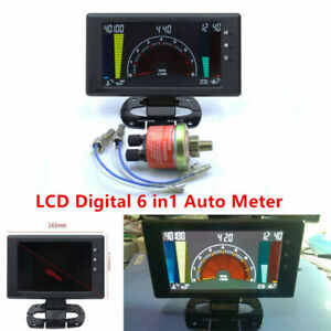 Multipurpose LCD Digital 6 in1 Auto Meter Oil Pressure Gauge Car R.P.M w/ Sensor