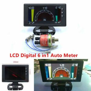 Multipurpose LCD Digital 6 in1 Auto Meter Oil Pressure Gauge Car R.P.M w/ Sensor