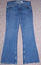 OLD NAVY Blue Denim Ultra Low Waist Flare Wide Leg Jeans Inseam 31.5 Size 2 EUC