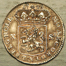 NETHERLANDS (HOLLAND) SILVER 10 STUIVER 1749 (HIGH GRADE + NICE TONING!)