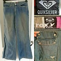 Quiksilver Roxy Jeans Blue Work Crew Flares W29 L34 Dirty Wash Vintage Denim