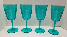 Set of 4 Teal Blue Plastic Wine Glasses Water Goblets Turquoise New