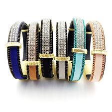 Leather Wrap Bracelet Bangle Wristband Cuff Rhinestone Crystal Fashion Punk