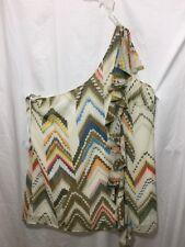 eShakti Womens One Shoulder Blouse Size 4X Tan Ruffle Multi Color B9*B