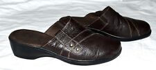 Clarks BENDABLES Dark Brown Pebbled Leather #39226 Womens Mules Clogs Size 9M