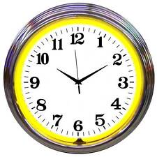 Chrome Yellow Standard Neon Clock 8CHRCY w/ FREE Shipping