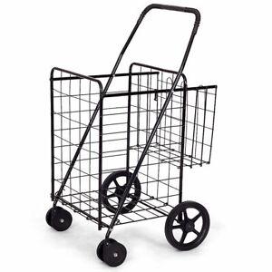IRONMAX Utility Shopping Cart Foldable Jumbo Basket Grocery Laundry w/ Wheels