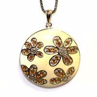 NEW 925 sterling silver .05ct VS G enamel citrine diamond pendant necklace 7.8g