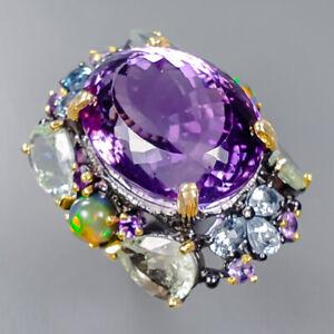 30ct+ Fine Art Amethyst Ring Silver 925 Sterling  Size 8 /R158586