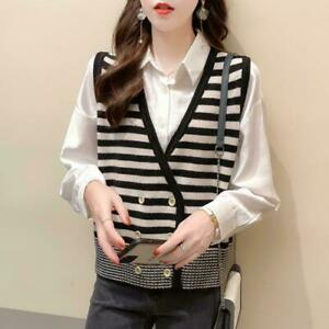 2021 new woman Button Sweater Vest Knitted Shawl Collar Sleeveless  cardigan