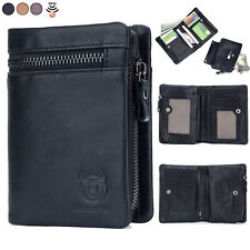 2 in 1 Mens Women Wallet Genuine Leather RFID Bifold with Zip Coin Pocket Purse