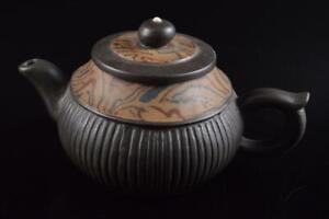 P9008: Chinese Brown pottery Shapely TEAPOT Kyusu Sencha, auto