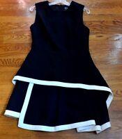 $885 MCQ Alexander McQueen Black White Round Neck Wool Peplum Dress US 4 IT 40