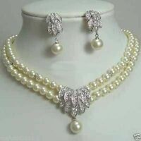 Real White Pearl Bridal Crystal Pendant Necklace Earrings Set
