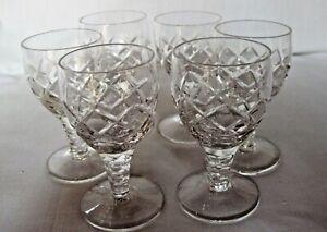 SET OF 6 STUART CRYSTAL BEAU PATTERN LIQUEUR GLASSES