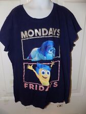 JUSTICE INSIDE OUT MONDAY/ FRIDAY BLUE T-SHIRT SIZE 16 GIRL'S EUC