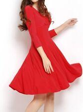 Rojo Clásico Cóctel/Vestido de té estrenar, talla 14, media manga