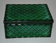 CZECH BOHEMIAN ART DECO GREEN MALACHITE GLASS JEWELRY BOX