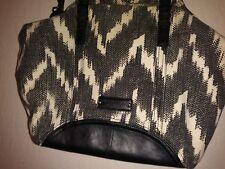Lucky Brand Bali Hai Shoulder Bag Tote Purse Black White Chevron Zebra Canvas
