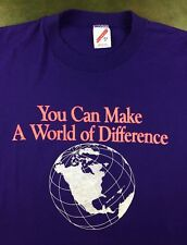 Vintage Mens M 80s Make a Difference Medical Blood Marrow Purple Earth T-Shirt