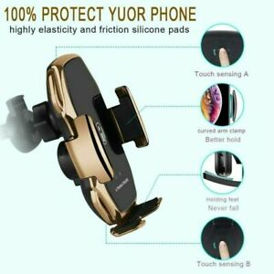 Wireless Car Charger Fast Charging Automatic Sensor Clamping Phone Holder Mount