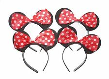 BLACK AND RED MINNIE MOUSE EARS WOMEN GIRLS HEN PARTIES FANCY DRESS HEADBAND