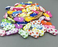 100 Cartoon Flip flops shape Resin Sewing buttons Mixed colors scrapbooking 22mm