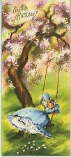 VINTAGE GIRL DRESS PANTALOONS TREE SWING SPRING PRINT 1 WILLIAMSBURG GARDEN CARD