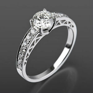DIAMOND SOLITAIRE ACCENTED RING VS1 D WOMEN 14 KT WHITE GOLD NATURAL 1.04 CT