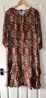 LAURA ASHLEY RED FLORAL TIERED FRILL MIDI DRESS UK 12 AUTUMNAL
