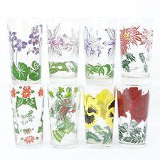 8 VTG Boscul Peanut Butter Glasses Orchid Violet Pansy Tea Rose Posinsettia Xmas