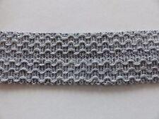 gewebte Borte - grau - 30mm breit - Schurwolle/Polyacryl - zum Decken einfassen