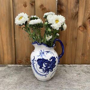 Antique Vintage Blue & White Floral Ceramic Jug Flower Vase Victoria Ironstone