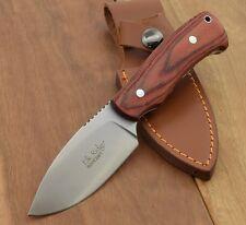 Couteau de Chasse Bushcraft Elk Rige Acier 440 Manche Bois Etui Cuir ER551LW