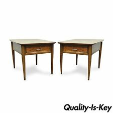 Pair Mid Century Modern Woven Front Walnut & Laminate Lamp End Tables Lane ?