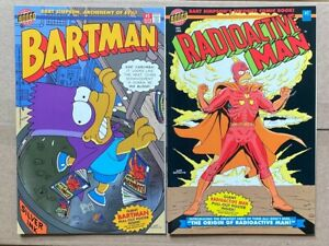 BARTMAN #1 SILVER FOIL & RADIOACTIVE MAN #1 GLOW IN THE DARK - MINT WITH POSTERS
