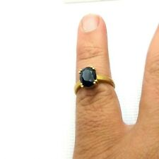 Men's Boho Style Turkish Ring Jewelry Sapphire Blue Yellow Gold Plated Brass