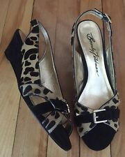 NEW Beverly Feldman Leopard Pony Hair Suede Open Toe Wedge Slingback Shoes 8.5 M