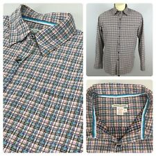 CARBON 2 COBALT Mens Large Pink Baby Blue Plaid Check Cotton Long Sleeve Shirt L