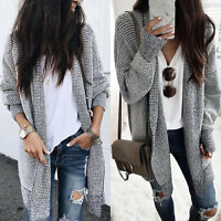 Womens Winter Baggy Cardigan Long Sweater Coat  Check Knitted Oversized Outwear